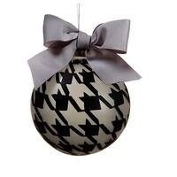 4.75 in. Gray And Black Pied-A-Poule Glass Ball Christmas Ornament