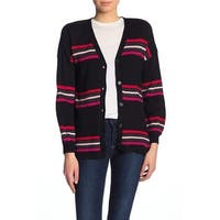 Democracy Black Women's Size Medium M Striped Cardigan Sweater