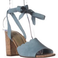 Marc Fisher Piya Scalloped Lace Up Sandals, Light Blue