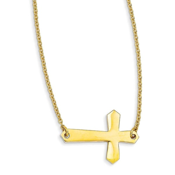 Chisel Stainless Steel Yellow IP-plated Sideways Cross 20in Necklace (2 mm) - 21.25 in