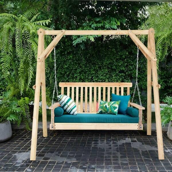 Natural Wood Garden Swing Bench
