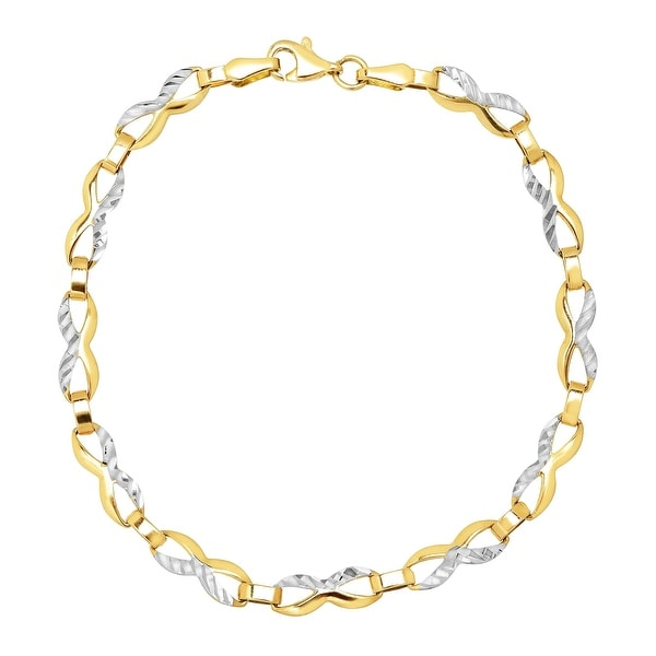 Eternity Gold Figure-8 Link Chain Bracelet in 14K Gold with Rhodium Plating