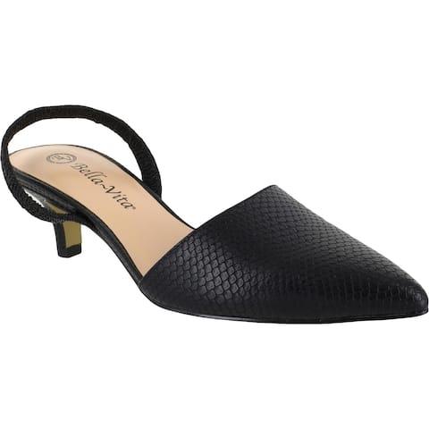 Bella Vita Womens Sarah Flats Faux Leather Ankle Strap - Black Snake - 6 Wide (C,D,W)