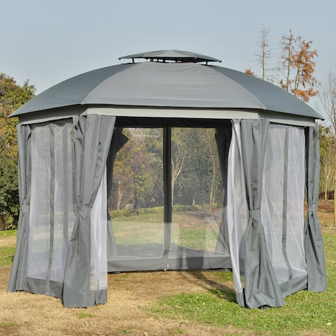 Outsunny 12' x 12' Round Outdoor Patio Gazebo Canopy with 2-Tier Roof, Netting Sidewalls, & Strong Steel Frame