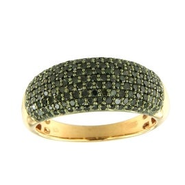 1.00 Carat Round Brilliant Cut Green Color Diamond Wedding Band, 925 Sterling Silver