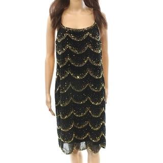 Marina NEW Black Gold Scallop Embellished Women's Size 10 Shift Dress