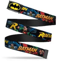 Batman Fcg Black Yellow Chrome Batman & Robin In Action W Text Web Belt