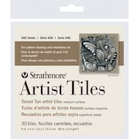 Strathmore 400 Series Toned Tan Artist Tiles, 4 x 4 Inches, 80 lb, Pack of 30