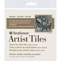 Strathmore 400 Series Toned Tan Artist Tiles, 4 x 4 inch, 80 Pounds, Pack of 30