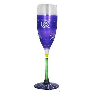 Set of 2 Purple & White Hand Painted Champagne Drinking Glasses - 5.75 Oz.