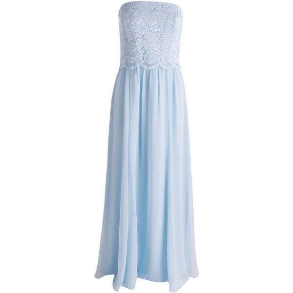 Lauren Ralph Lauren Womens Evening Dress Chiffon Lace Trim