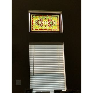 shop tiffany style wood frame stained glass window panel free
