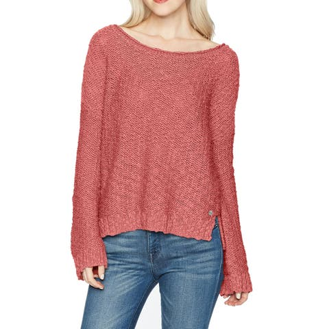 Roxy Dusty Pink Size Small S Junior's Crisscross-Back Knitted Sweater
