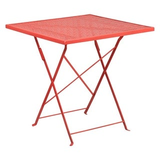 Offex 28'' Square Coral Indoor-Outdoor Steel Folding Patio Table