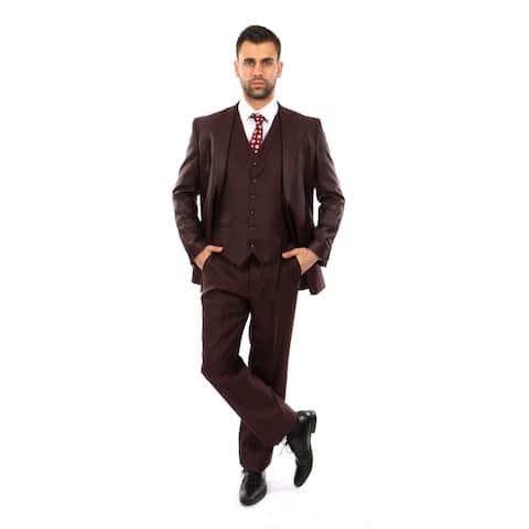Quality Suits / Notch Lapel 3 PC Burgundy Texture Classic Fit Suits