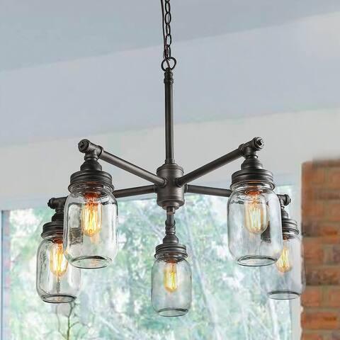 "The Gray Barn Heavenly Winds 5-light Height Adjustable Glass Jar Chandeliers Kitchen Island - W25""xH23.5"""