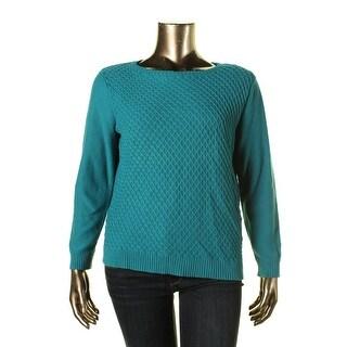 Karen Scott Womens Textured Long Sleeves Pullover Sweater
