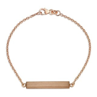 Bling Jewelry Rose Gold Plated .925 Sterling Silver ID Bar Bracelet