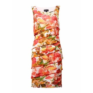 Connected Women's Tiered Floral Mesh Sheath Dress - 6