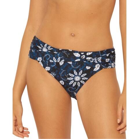 Bleu Rod Beattie Womens Floral Print Hipster Swim Bottom Separates - Navy