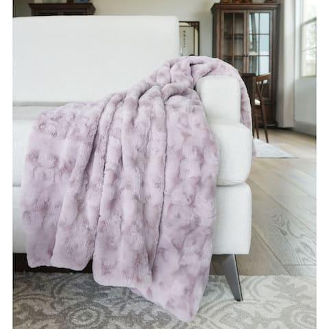 "Millihome Jackson Cloud Gray Faux Fur Throw Blanket 50""x60"""