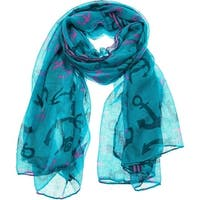 Women's Lightweight Sheer Soft Anchors Print Scarf -  68 inches x 35 inches