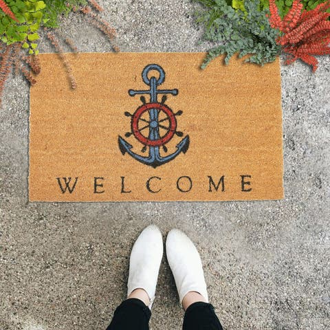 "GAURI KOHLI Natural Coir Doormat Nautical Anchor Welcome (30"" X 18"")"