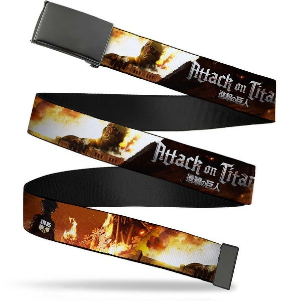 Blank Black Buckle Attack On Titan Eren V. Titan Scene Webbing Web Belt
