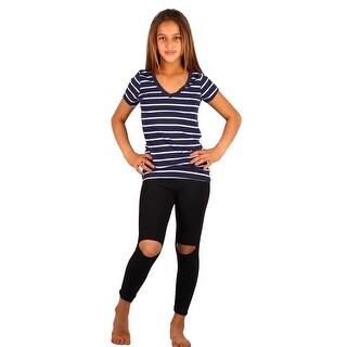 Lori & Jane Girls Navy Stripe Short Sleeve Black Leggings Outfit