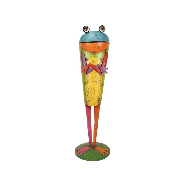 "24"" Bright Multi-Color Distressed Finished Frog Outdoor Garden Planter"