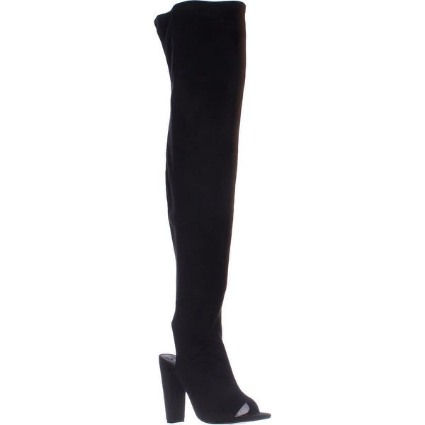 Steve Madden Kimmi Over-The-Knee Open Heel Boots, Black