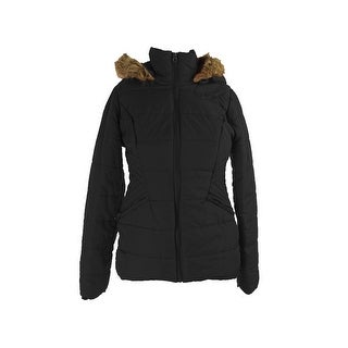 Krush Juniors Black Faux-Fur-Trim Puffer Quilted Jacket L