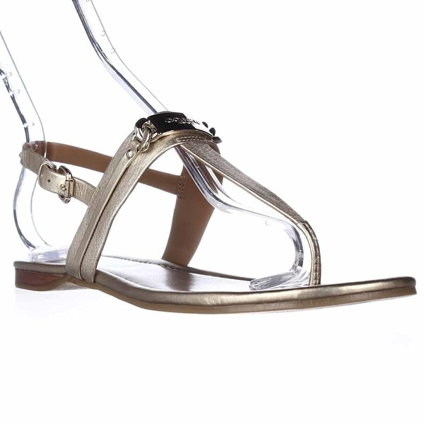 Coach Caterine Women Open Toe Leather White Thong Sandal Black - 9.5
