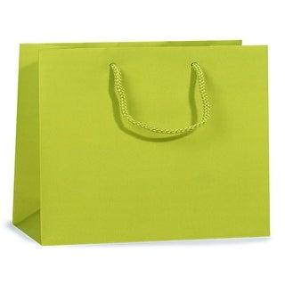 """Pack Of 100, Solid Lime Matte Vogue Gift Bags 16 X 6 X 12"""" w/Cardboard Bottom Inserts & Coordinating Cord Handles"""