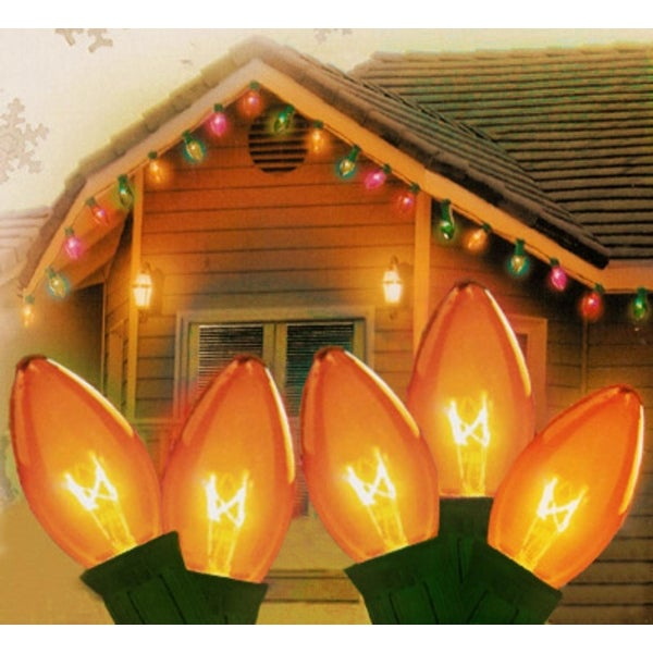 "Set of 25 Transparent Orange C9 Christmas Lights 12"" Spacing - Green Wire"