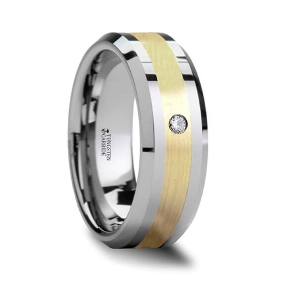 Fabian 14K Gold Inlaid Beveled Tungsten Ring With Diamond