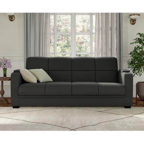 Copper Grove Brighton Storage Arm Convert-a-Couch Sofa