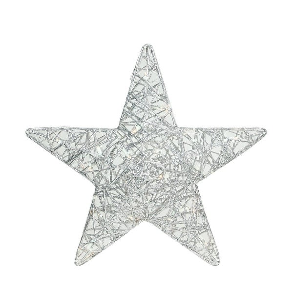 "18"" LED Lighted Silver Glitter 3-D Star Hanging Christmas Outdoor Decoration"