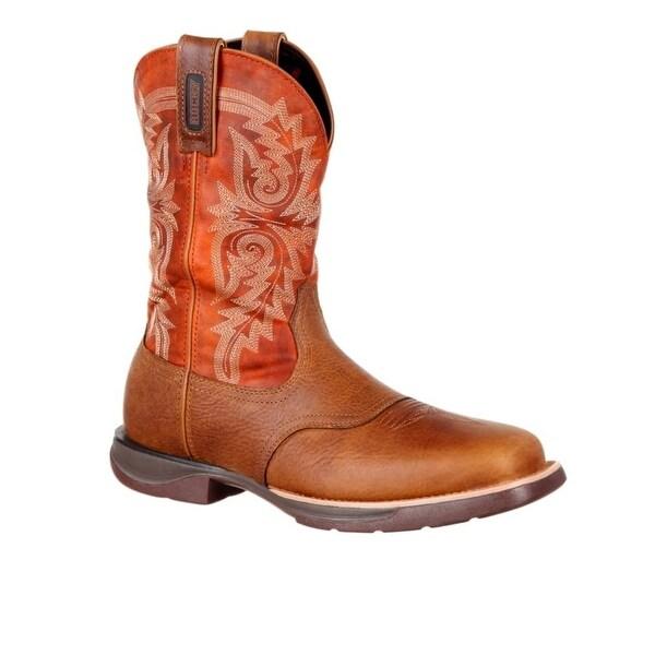 "Rocky Western Boots Mens 11"" Waterproof Pull On Brown"