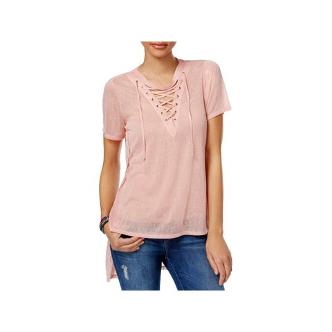 Material Girl Womens Juniors Tunic Top Lace-Up Cut Out