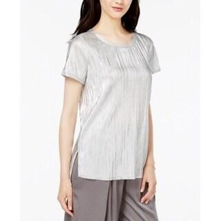 Bar III Silver Women Size Large L Textured Metallic Pleated Knit Top