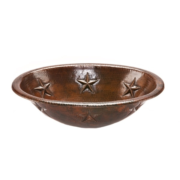 """Premier Copper Products LO19RSTDB 19"""" Oval Star Self Rimming Hammered Copper Sink - Oil Rubbed Bronze"""