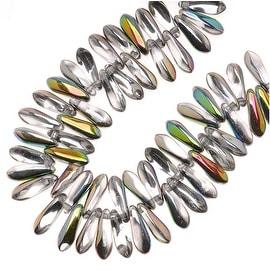 Czech Pressed Glass 3 x 10mm Dagger Beads - Crystal Vitrail  (50)
