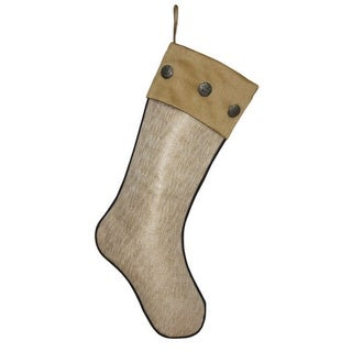 """20"""" Elegant Shimmering Gold Foil Print Christmas Stocking with Buttons"""