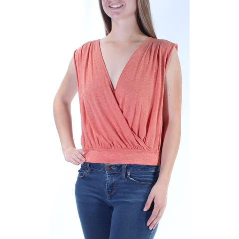 WE THE FREE Womens Orange Open Back Sleeveless V Neck Wrap Top Size: M