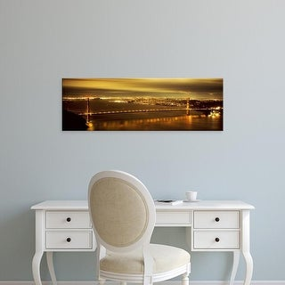 Easy Art Prints Panoramic Image 'Suspension bridge lit up, Golden Gate Bridge, San Francisco, California' Canvas Art