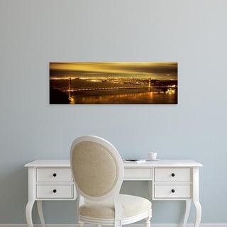 Easy Art Prints Panoramic Image 'Suspension bridge lit up, Golden Gate Bridge, San Francisco, California' Canvas Art