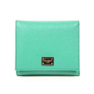 DOLCE & GABBANA Ladies Green Leather Wallet - 4.5x4x1