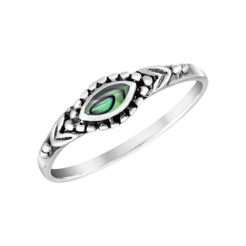 Handmade Colorful Marquise Shaped Stone Inlay Sterling Silver Ring (Thailand)