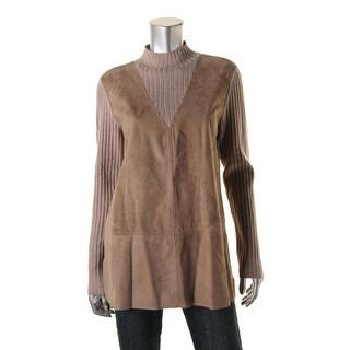 Tory Burch Womens Mock Turtleneck Sweater Suede Ribbed Knit